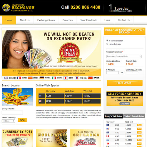 Screenshot of Currency Exchange Corporation