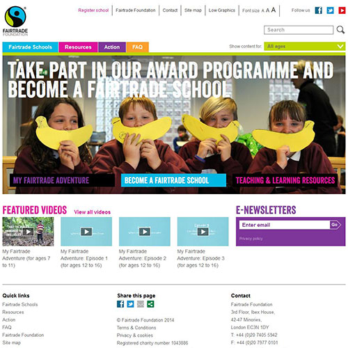 Screenshot of Fairtrade Schools