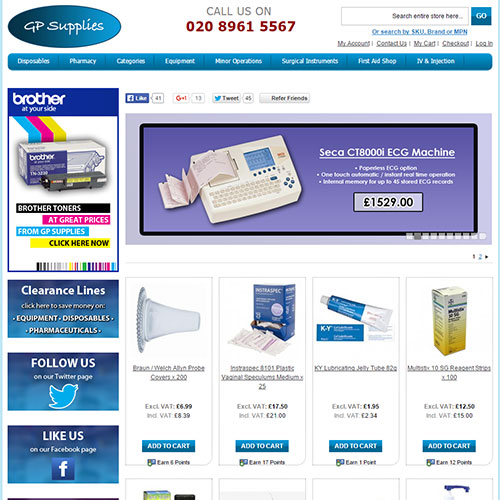Screenshot of GP Supplies UK
