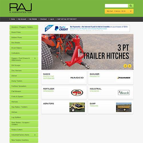 Screenshot of RAJ Supply